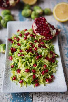 Pomegranate and Shaved Brussels Sprouts Salad with Lemon Dressing