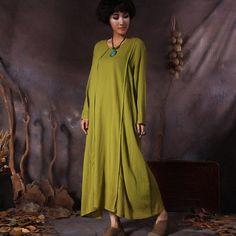 Women's retro style loose pullover cotton dress