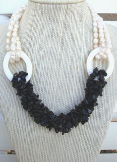 Black Onyx with Pearl Necklace by LolasCustomJewelry on Etsy, $69.00