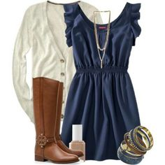 I like this dress and sweater. Would wear with leggings in the fall.