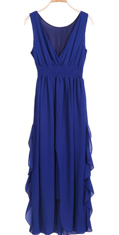 #SheInside Blue V Neck Sleeveless Ruffles High Low Dress