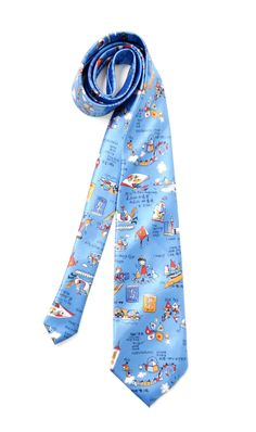 Silk tie vintage Mens neckties vintage Accessories for men clothing blue necktie prints Hong Kong Handmade by SixVintageChicks on Etsy