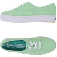 Keds Low-tops & Trainers ($54) ❤ liked on Polyvore featuring shoes, sneakers, light green, round toe sneakers, low profile shoes, wedges shoes, wedge trainers and low top wedge sneakers
