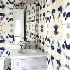 Kerry rosenthal wallpaper _ dining room Downstairs Bathroom, Wall Treatments, Wall Wallpaper, Powder Rooms, Attic, Ceilings, Bathroom Ideas, Floors, Coastal