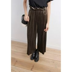 High Waist Micro Pleats Velvet Trousers With O-Ring Buckle Charm