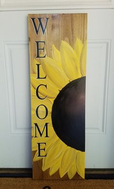 Sunflower Welcome Sign – Love Crafted Decor Sunflower Home Decor, Sunflower Crafts, Sunflower Themed Kitchen, Sunflower Bathroom, Sunflower Decorations, Sunflower House, Sunflower Art, Sunflower Design, Sunflower Wreaths