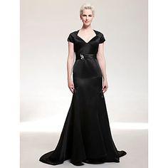 Satin Trumpet/ Mermaid V-neck Court Train Evening Dress inspired by Eva Longoria at Golden Globe Award – USD $ 179.99