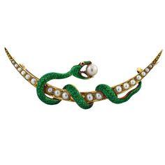 Victorian enamel & seed pearl snake brooch: