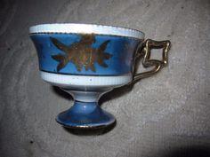Vintage iridescent blue & gold Asian teacup, square handle, no maker mark, E-153