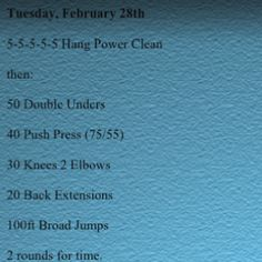 Today's WOD Time: 23:10 Rx