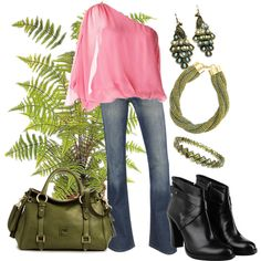 pink and green, created by danyellefl01 on Polyvore
