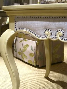 Drexel Heritage Furniture. Upholstery detailing on a table! Love it.