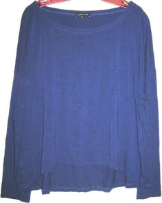 EILEEN FISHER blue high-low knit top tunic oversize jersey t-shirt scoop neck XL