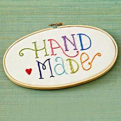 Cute little embroidery hoop art to decorate a craft space or for a crafty person. :) Handmade Stitchery