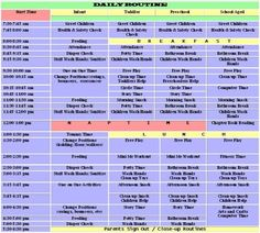 SCHEDULE - Friendly Faces Daycare Center  I don't like this particular schedule but I like the idea of having s congregate schedule of all classrooms in a central location.