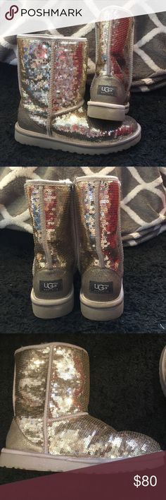 Authentic UGG Australia Boots Size 9 UGG Australia boots! Silver sequin detailing with light gray sole. Light gray fur lining inside! Gently worn (only worn a handful of times). Great condition! UGG Shoes Winter & Rain Boots