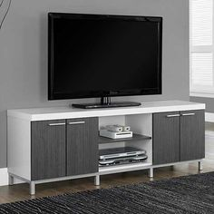 Monarch 60 in. Horizontal/Vertical Etagere / TV Console - Life is way more fun with you have options. Thankfully, the Monarch 60 in. Horizontal/Vertical Etagere / TV Console gives you plenty of room to. Home, Minimalist Home, Minimalist Bedroom, Entertainment Center, Minimalist Decor, Furniture, Tv Console, Beautiful Console, Storage Entertainment Center