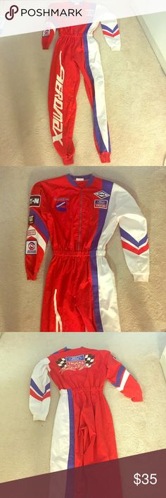 """Racing suit NASCAR costume size adult small Mechanics or indoor karting suit gently worn vintage. I wore it to a NASCAR costume party. Perfect for Halloween. Full length of suit is 5ft from neck to bottom of ankle cuffs. Inseam is 31.5"""".  Can be worn by a range of heights. NASCAR Costumes Halloween"""