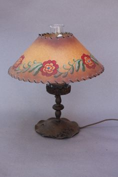 1920u0027s Wrought Iron Table Lamp With Hand Painted La Goy Shade.