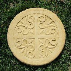 """Celtic Stepping stone by Designer Stone. 12"""" in diameter. Handcrafted from solid cast stone. Made in the USA! Available in 4 colors. Shown in Old Stone. DSgardenshop.com"""