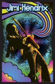 Celebrate the psychodelic rock king in a different light with this abstract 23 X 35 Jimi Hendrix Guitar Solo Blacklight Poster.