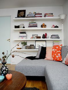 using wall space : simple shelves