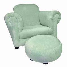 "Club Chair- Solid Sage Velour Children'S Stuffed Chair W/Matching Circular Ottoman; Chair: 24"" X 17"" X 18""; Ottoman: 12"" X 12"" X 6"" Trend Lab http://www.amazon.com/dp/B002TRJ0F8/ref=cm_sw_r_pi_dp_FMcnub1N6YJM9"