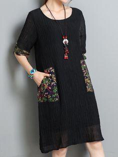 Vintage Women Short Sleeve Pocket O-Neck Dresses