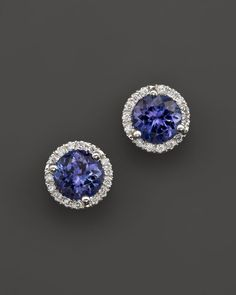 Bloomingdale's Tanzanite and Diamond Halo Stud Earrings in 14K White Gold
