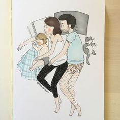 This mom's drawings show a real glimpse into the life of a SAHM Mom Drawing, Family Drawing, Drawing Sketches, Couple With Baby, Cute Couple Art, Family Illustration, Cute Illustration, Couple Drawings, Love Drawings