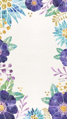 Watercolor floral blue purple yellow green