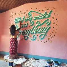 Awesome script mural.  Type by @homsweethom  #typegang - typegang.com | typegang.com #typegang #typography