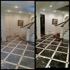Diamond honing & Polishing Marble Foyer Floor