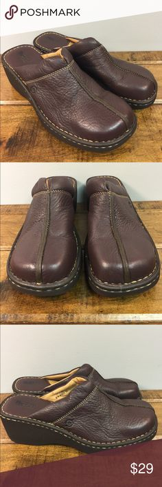 "Born 11M brown leather mules clogs casual shoes Born USA 11 medium brown leather slip on clogs are accented by tan top stitching.  2.5"" heel. Light wear. No bad smells. Born Shoes Mules & Clogs"