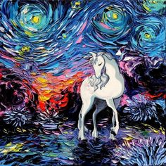 """Unicorn - Last Unicorn Art PRINT - Fantasy Art - Starry Night - Regret - Art by Aja 8x8, 10x10, 12x12, 20x20, 24x24 inch sizes. Thank you for your interest in my art - ***Please read entire description of item.*** This is a print - it not NOT a painting. It is not on canvas. It is not framed. I do offer canvas options, please see other listings. This stunning print of my original painting entitled """"Regret"""" utilizes all silver traditional photo processing. It is printed on high quality..."""