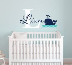 Whale Wall Decal-Name Wall Decal-Nautical Baby Room Decor-Nursery Wall Decals- Boys Nautical Decals-Personalized Name Decals - Baby Showers Nursery Wall Decals Boy, Nautical Baby Nursery, Grey Nursery Boy, Name Wall Decals, Baby Nursery Decor, Baby Decor, Bedroom Wall, Baby Boy Rooms, Baby Boy Nurseries