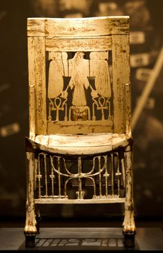 Chair found among the furniture placed in the tomb of Tutankhamun for the king's use in the afterlife | Wood, painted white; 75 cm high; Carter 349