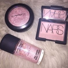 Pink Mac highlighter and nail polish and Nars eyeshadow  ""