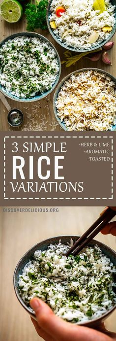 3 simple ways to liven up rice: Toasted rice + sesame oil & soy sauce, also Herbs & Lime juice, and lastly Aromatic Rice cooked in aromatics such as garlic and ginger! All 3 recipes in one post. Plus method for perfect, fluffy rice! #rice #recipes #easy #