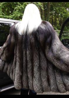 GORGEOUS SILVER FOX FUR COAT JACKET | eBay