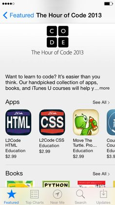 L2Code HTML and L2Code CSS are listed in the App Store's top 10 programming apps! #HourOfCode