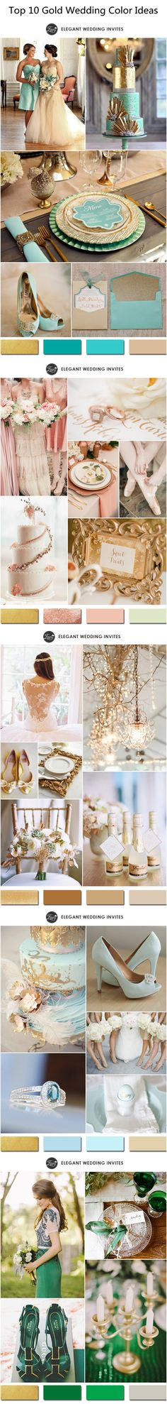 Top 10 Gold Wedding Color Ideas 2015 Trends #weddingcolors #elegantweddinginvites