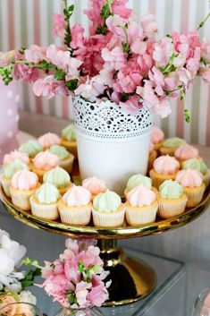 Mini Cupcakes + Florals from a Teddy Bear Forever Friends Birthday Party via Kara's Party Ideas KarasPartyIdeas.com (20)