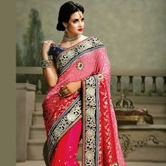 Stunning bridal sarees in a variety of designs. Choose from a vast bridal sarees collection or pick your favorite bridal lehenga in gorgeous colors and bespoke fabrics. Indian Bridal Wear, Indian Wear, Saree Collection, Bridal Collection, Bridal Sarees Online, Net Saree, Pink Saree, Women Life, Bridal Lehenga