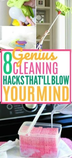 These cleaning hacks are useful if you want to learn how to keep a clean house. These cleaning tips are good for people who hate cleaning up but yet still want the benefits of a clean home! Tips 8 Beyond Genius Cleaning Hacks You Need to Know Household Cleaning Tips, Cleaning Day, Cleaning Checklist, House Cleaning Tips, Diy Cleaning Products, Spring Cleaning, Bathroom Cleaning Hacks, Deep Cleaning Tips, Cleaning Solutions