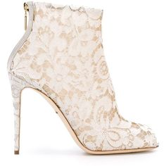 Dolce & Gabbana floral lace booties (£625) ❤ liked on Polyvore featuring shoes, boots, ankle booties, white, white stilettos, lace booties, stiletto booties, stiletto boots and peep toe boots