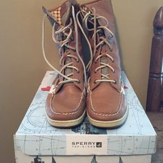 High top Sperry's Worn one time! Excellent condition! Still in the box! Sperry Top-Sider Shoes