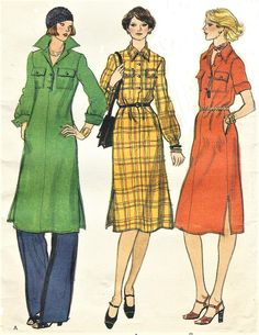 1970s Pullover Dress & Pants Wing Collar and Sleeve Variations