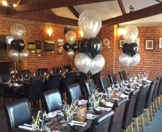 Black and silver table bouquets