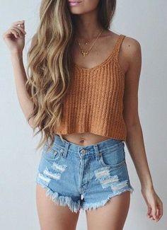 #summer #fashion / orange knit crop top
